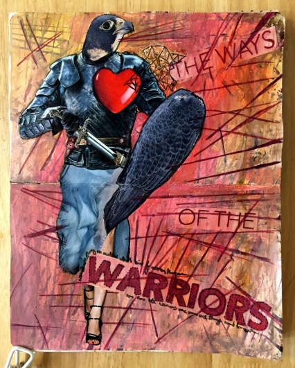 A collaborative art journal page with Beatriz Helton, a mixed media collage of a bird as a warrior knight; the page was created with collage material, ink, and acrylic paint.