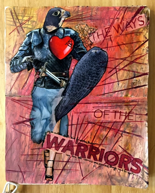 A collaborative art journal page with Beatriz Helton, mixed media collage of a bird as a warrior knight