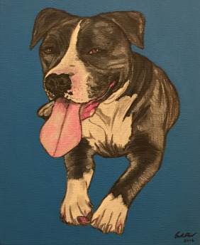 A canvas painting of a cute pit bull