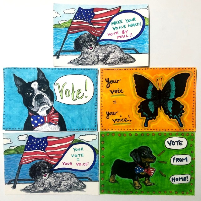 Handmade postcards made for Postcards to Voters with illustrations of cute dogs and a butterfly encouraging Democrats to vote in the US election in November 2020; the postcards were created with ink and acrylic markers.